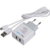 WALL CHARGER 2.0 USB 2 PORT WHITE